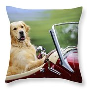 Golden Retriever In Car Throw Pillow