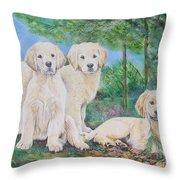 Golden Retriever Puppy Trio  Throw Pillow