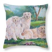 Golden Retriever Trio Throw Pillow
