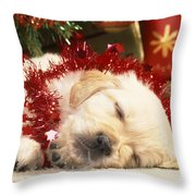 Golden Retriever Under Christmas Tree Throw Pillow