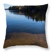 Golden Ripples Bedrock - Fall Reflection Tranquility Throw Pillow
