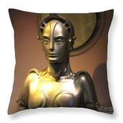 Golden Robot Lady Throw Pillow