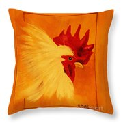 Golden Rooster Throw Pillow