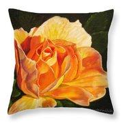 Golden Rose Blossom Throw Pillow