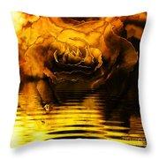 Golden Rose On The Lake Throw Pillow