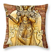 Golden Sculpture In A Hindu Temple In Patan Durbar Square In Lalitpur-nepal Throw Pillow