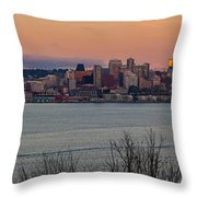 Golden Seattle Skyline Sunset Throw Pillow