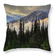 Golden Shawl On The Mountain Throw Pillow