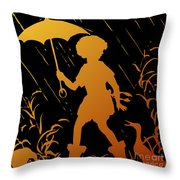Golden Silhouette Of Child And Geese Walking In The Rain Throw Pillow