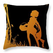 Golden Silhouette Of Child With Basket Walking In The Woods Throw Pillow