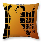 Golden Silhouette Of Couple Embracing Throw Pillow