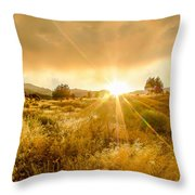 Golden Smoke Throw Pillow