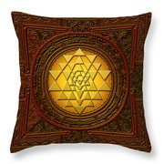 Golden  Sri Lakshmi Yantra Throw Pillow