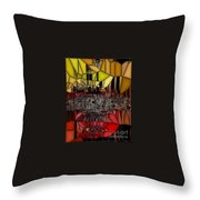 Golden Stained Abstract Throw Pillow