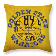 Golden State Warriors Basketball Team Retro Logo Vintage Recycled California License Plate Art Throw Pillow