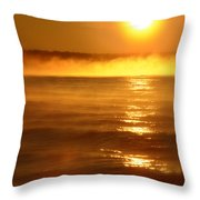 Golden Sunrise Over The Water Throw Pillow