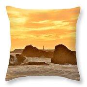 Golden Sunset At Ruby Beach Throw Pillow