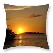 Golden Sunset In Keys Throw Pillow by Ella Char
