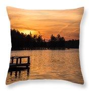 Golden Sunset Lake Horicon Lakehurst Nj Throw Pillow