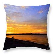 Golden Sunset On The Harbor Throw Pillow