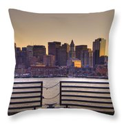 Golden Sunset Over Boston Throw Pillow