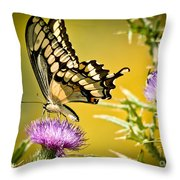 Golden Swallowtail Throw Pillow