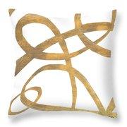 Golden Swirls Square II Throw Pillow