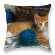 Golden Tabby Kitten Throw Pillow