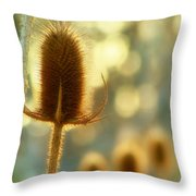 Golden Teasels Throw Pillow