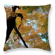 Golden Tree Throw Pillow