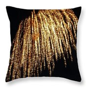 Golden Umbrella Throw Pillow