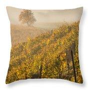 Golden Vineyard And Tree Throw Pillow