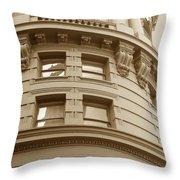 Golden Vintage Building Throw Pillow