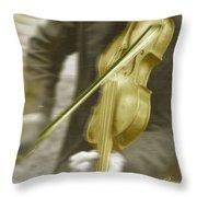 Golden Violin Throw Pillow