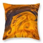 Golden Waves Of Blue Throw Pillow