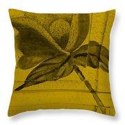 Golden Wood Flower Throw Pillow