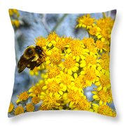 Golden Yarrow And Visitor Throw Pillow
