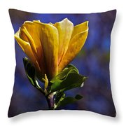 Golden Yellow Magnolia Blossom Throw Pillow
