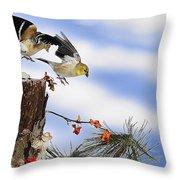 Goldfiches Flying Over Lichen Stump Throw Pillow