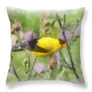 Goldfinch #3 By Kerri Farley Throw Pillow