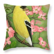 Goldfinch And Dogwood Throw Pillow