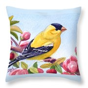 Goldfinch In A Crab Apple Tree Throw Pillow