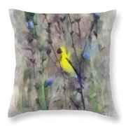Goldfinch In Wildflowers Throw Pillow