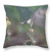 Goldfinch On Echinacia Throw Pillow