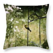 Goldfinch On The Lookout -19 Throw Pillow