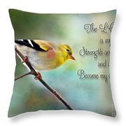 Goldfinch With Rosy Shoulder - Digital Paint And Verse Throw Pillow