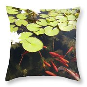 Goldfish And Water Lily 1 Throw Pillow