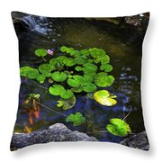 Goldfish With Lily Pads Throw Pillow