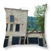 Goldrush Heritage Buildings In Dawson City Yukon Throw Pillow