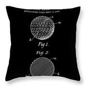 Golf Ball Patent 1906 - Black Throw Pillow